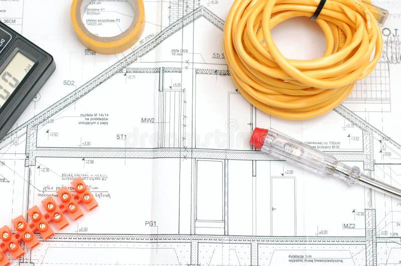 Plan för husbyggnad arkivfoto