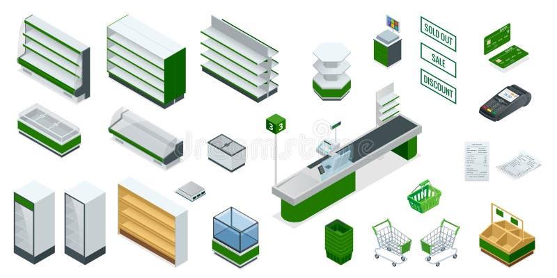 Plan för isometrisk supermarket för vektor inre Bilden inkluderar den kontanta lastbilen, kontrollen, kreditkorten, pengar, betal vektor illustrationer