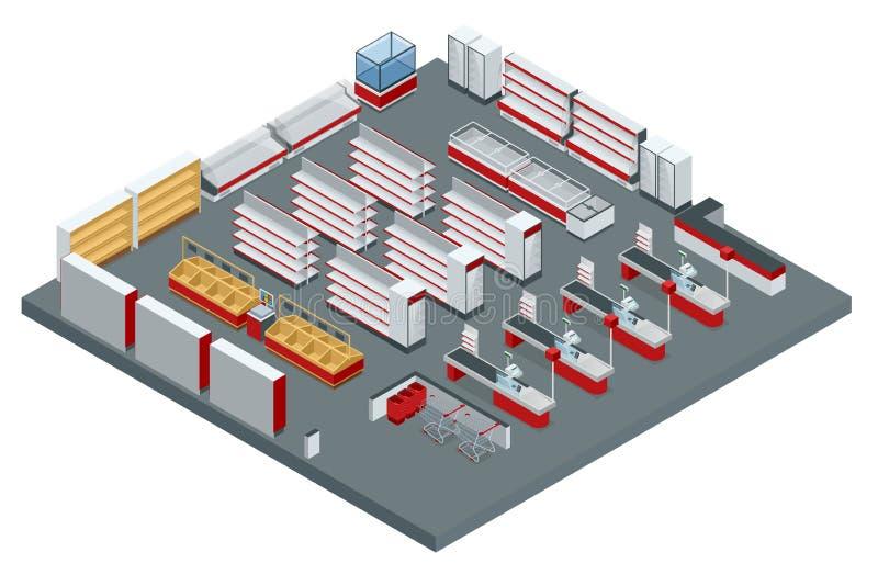 Plan för isometrisk supermarket för vektor inre Bilden inkluderar lagertvärsnittet, möblemang och utrustning royaltyfri illustrationer
