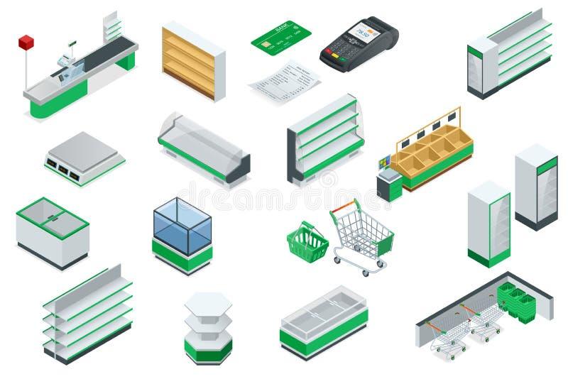 Plan för isometrisk supermarket för vektor inre stock illustrationer
