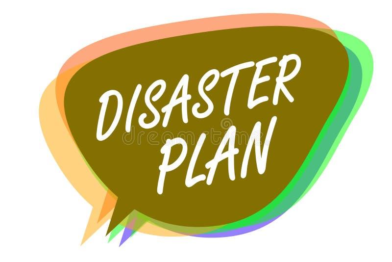 Plan för katastrof för ordhandstiltext Affärsidéen för reagerar till den nöd- beredskapöverlevnad- och första hjälpensatsen vektor illustrationer
