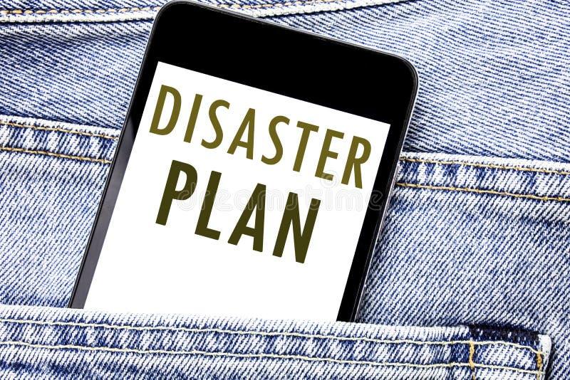 Plan för katastrof för visning för handskriftmeddelandetext Affärsidé för den skriftliga telefonmobiltelefonen för nöd- återställ arkivbilder