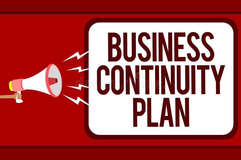 Plan för kontinuitet för affär för ordhandstiltext Affärsidé för att skapa mannen för potentiella hot för systemförhindrandeavtal vektor illustrationer