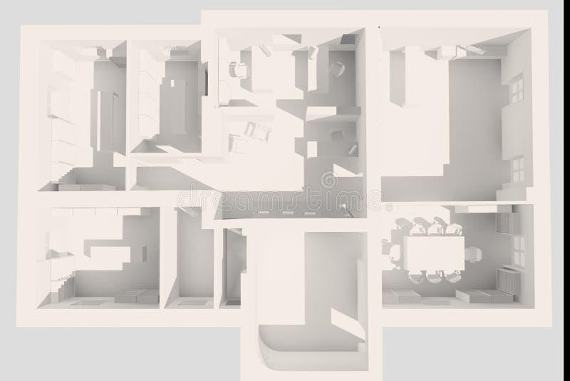 plan för kontor 3d royaltyfri illustrationer