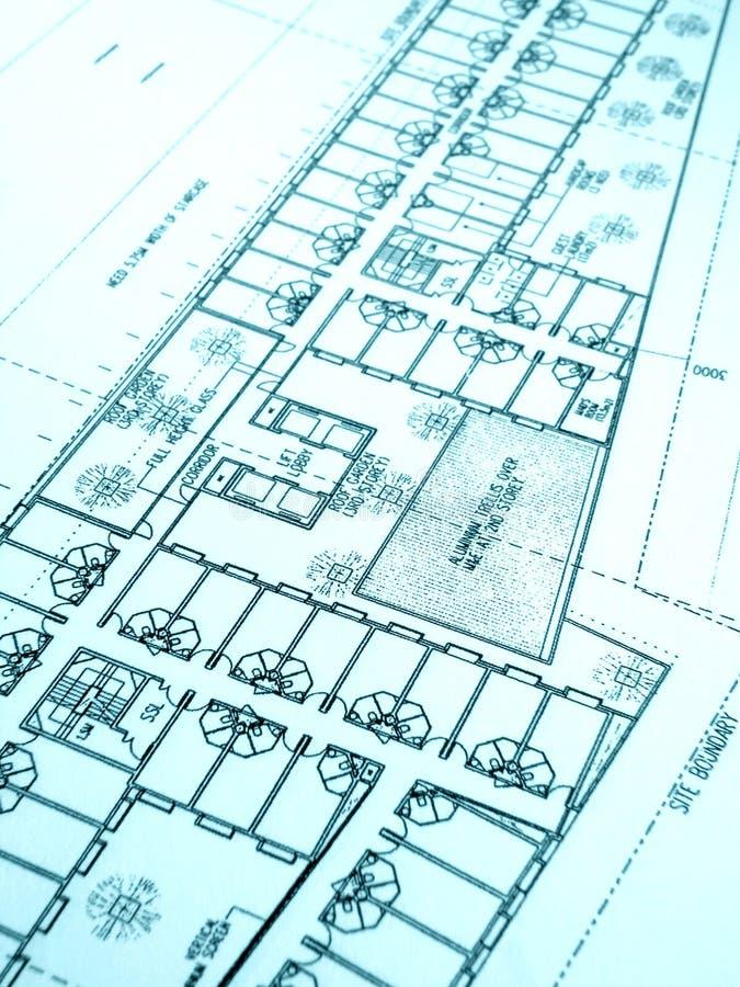 plan för kontor för byggnadskonstruktion royaltyfri foto