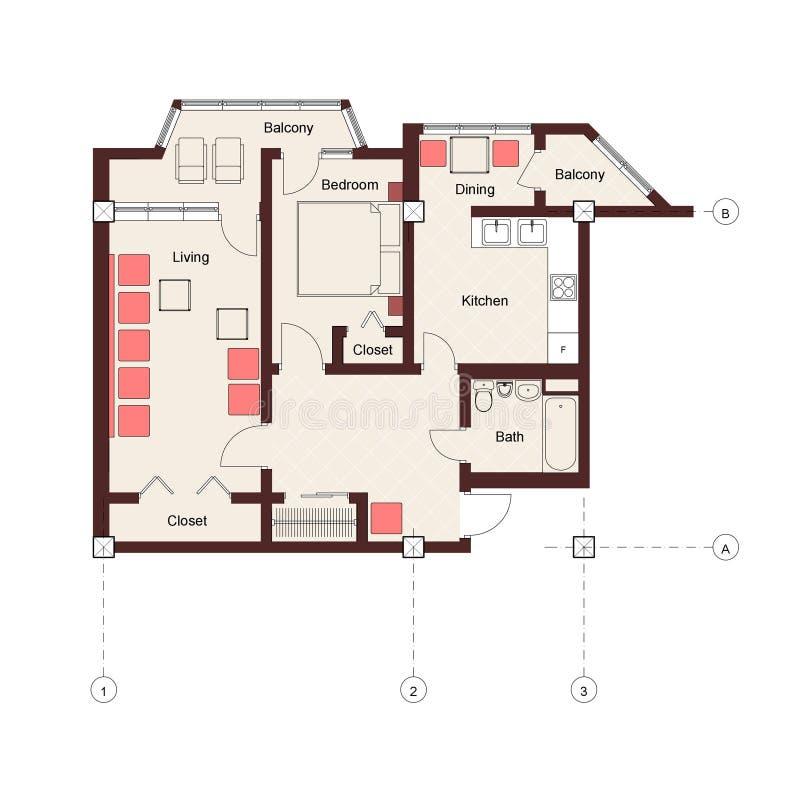 plan för lägenhetsovrum ett vektor illustrationer