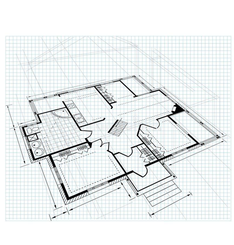 plan för landshus stock illustrationer