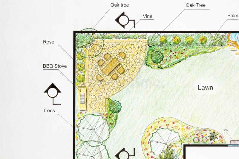 Plan för landskapsarkitektdesignträdgård royaltyfri foto
