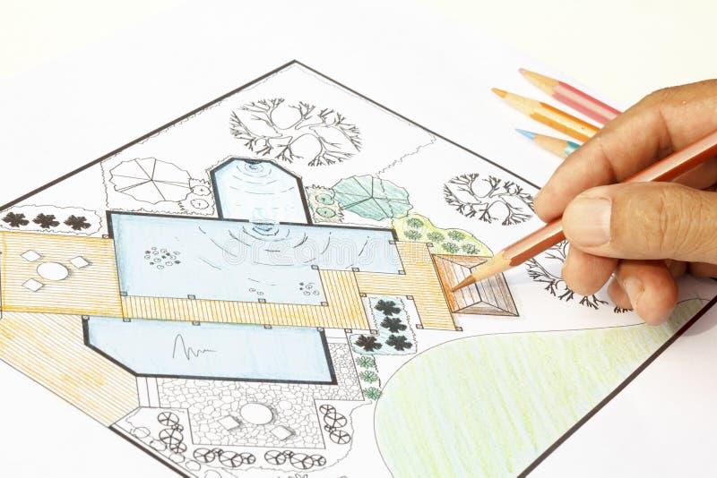 Plan för landskapsarkitektdesignträdgård för trädgård royaltyfria bilder