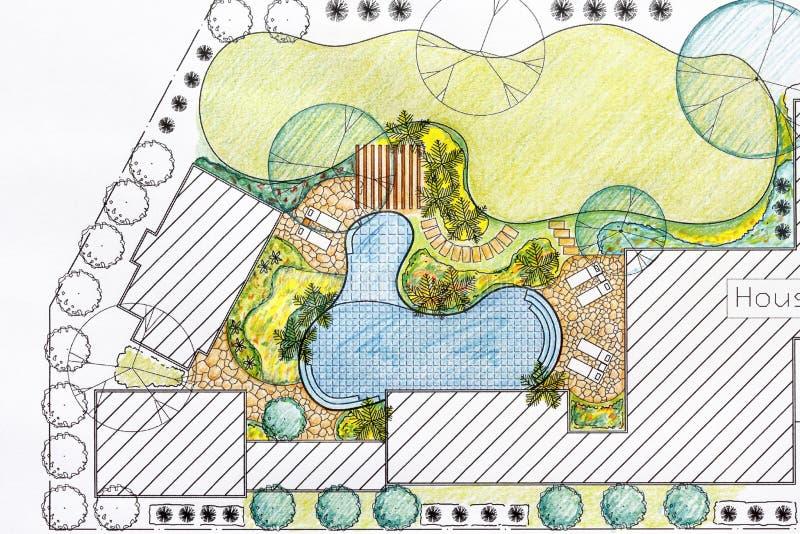 Plan för landskapsarkitektdesignträdgård för villa royaltyfria bilder