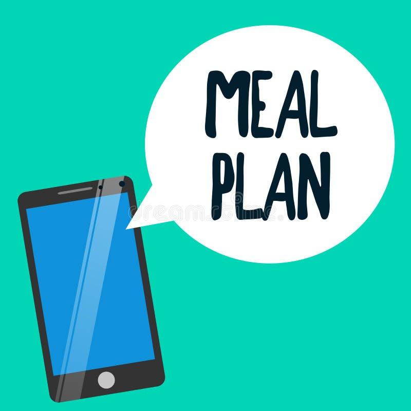 Plan för mål för ordhandstiltext Affärsidé för ordningsintrig av vad ska äta den nästa veckamånaden stock illustrationer