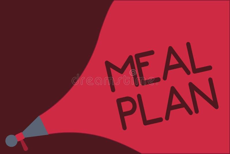 Plan för mål för ordhandstiltext Affärsidé för ordningsintrig av vad ska äta den nästa veckamånaden royaltyfri illustrationer