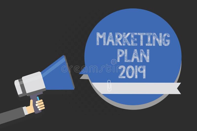 Plan för marknadsföring för handskrifttexthandstil 2019 Menande schema för begrepp som definierar märket som säljer vägen i Multi vektor illustrationer