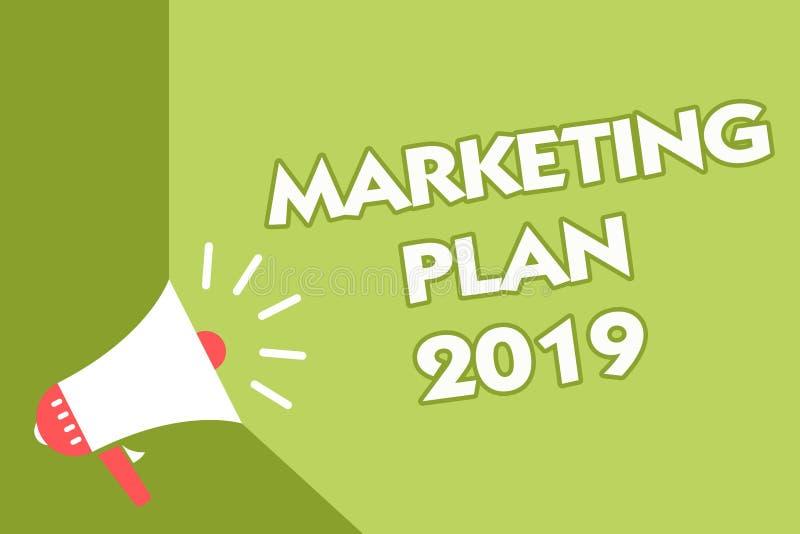 Plan för marknadsföring för ordhandstiltext 2019 Affärsidé för schema som definierar märket som säljer vägen i den nästa souen fö vektor illustrationer