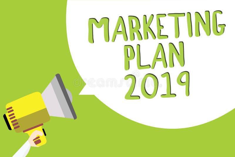 Plan för marknadsföring för textteckenvisning 2019 Begreppsmässigt fotoschema som definierar märket som säljer vägen i för textme stock illustrationer