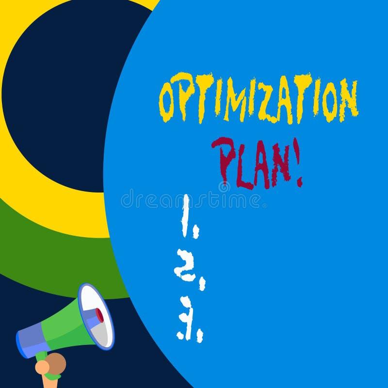 Plan för Optimization för handskrifttexthandstil Begreppsbetydelse som finner ett alternativ med den mest effektiva kostnaden - royaltyfri illustrationer
