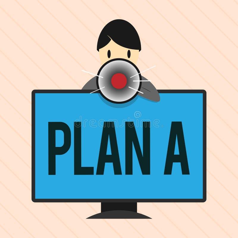 Plan A för ordhandstiltext Affärsidéen för en det original- planet eller strategi specificerade förslaget för att göra något stock illustrationer