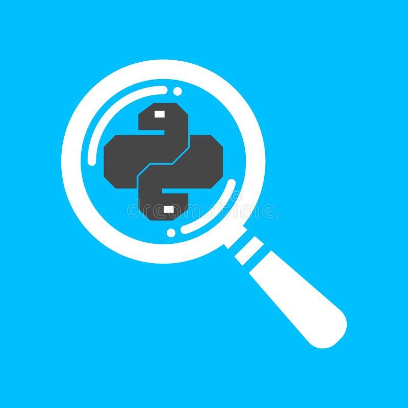 Plan för pytonormkod för linjärt sökande symbol Moderiktigt ormvektorsymbol royaltyfri illustrationer