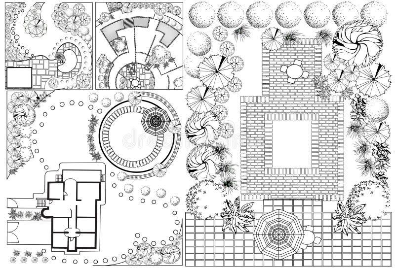 Plan för samlingsod-landskap stock illustrationer