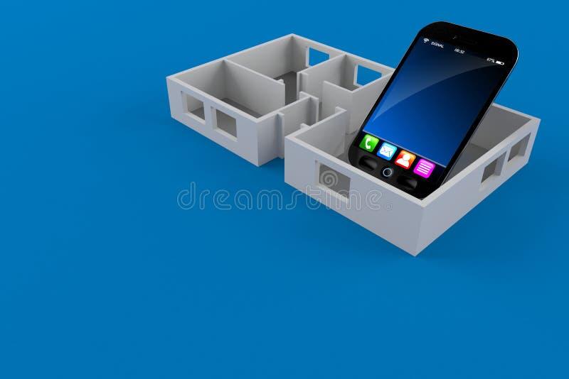 Plan för Smartphone insidahus vektor illustrationer