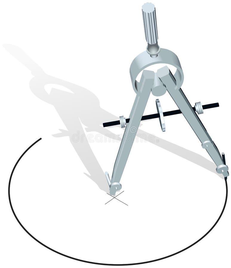 plan för teckning för skissning för cirkelkompassdesign stock illustrationer