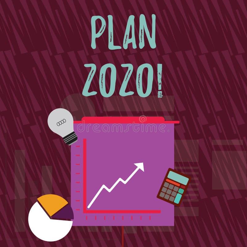 Plan 2020 för textteckenvisning Detaljerat förslag för begreppsmässigt foto som gör uppnå något därefter årsinvesteringsymboler a royaltyfri illustrationer