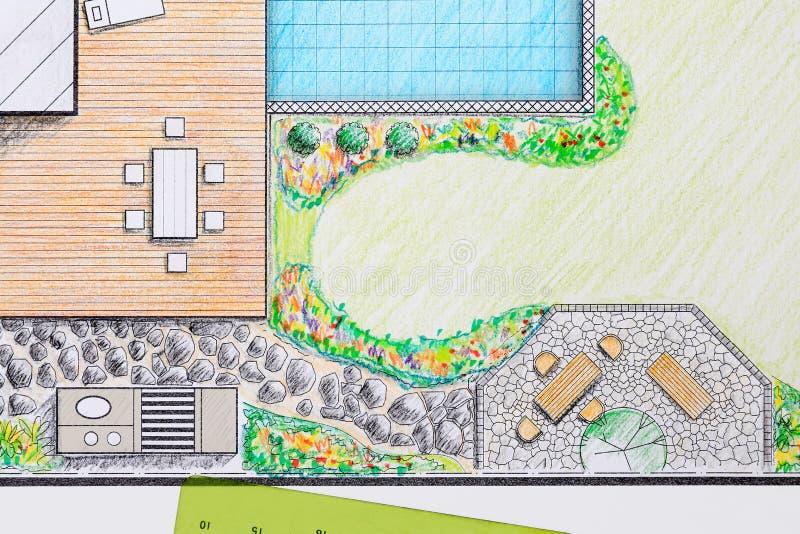 Plan för trädgård för landskapsarkitektdesignuteplats royaltyfria bilder