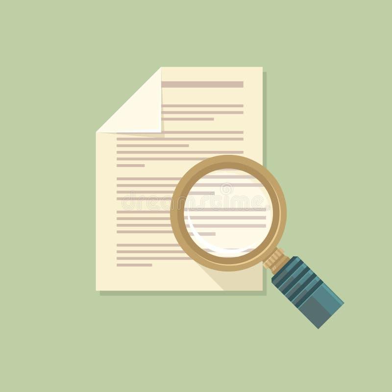 Plan förstoringsapparat för vektor och pappers- dokument stock illustrationer