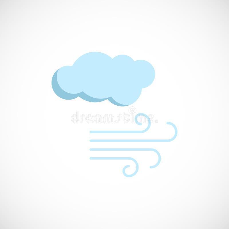 Plan förutsedd symbol av ett regnigt, blåsväder på vit stock illustrationer
