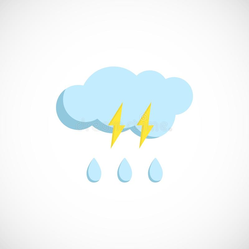 Plan förutsedd symbol av ett regnigt väder med blixt vektor illustrationer