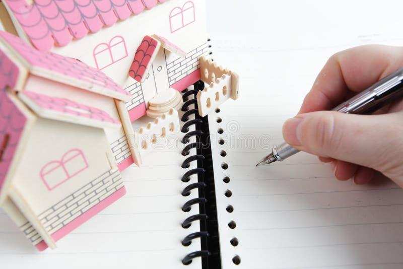 Plan für ein Haus stockbild