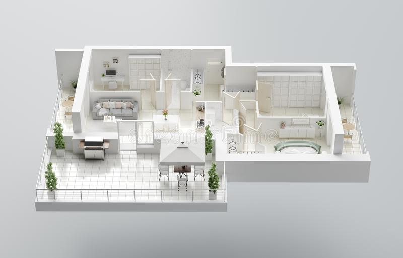 plan f?r golv 3D av ett hem ?ppna den bosatta l?genhetorienteringen f?r begreppet royaltyfri illustrationer