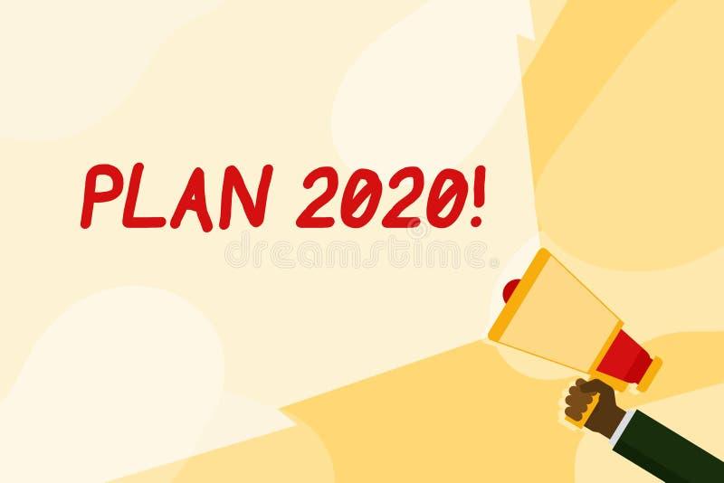 Plan 2020 f?r textteckenvisning Detaljerat förslag för begreppsmässigt foto för att göra eller att uppnå något därefter årshandin royaltyfri illustrationer