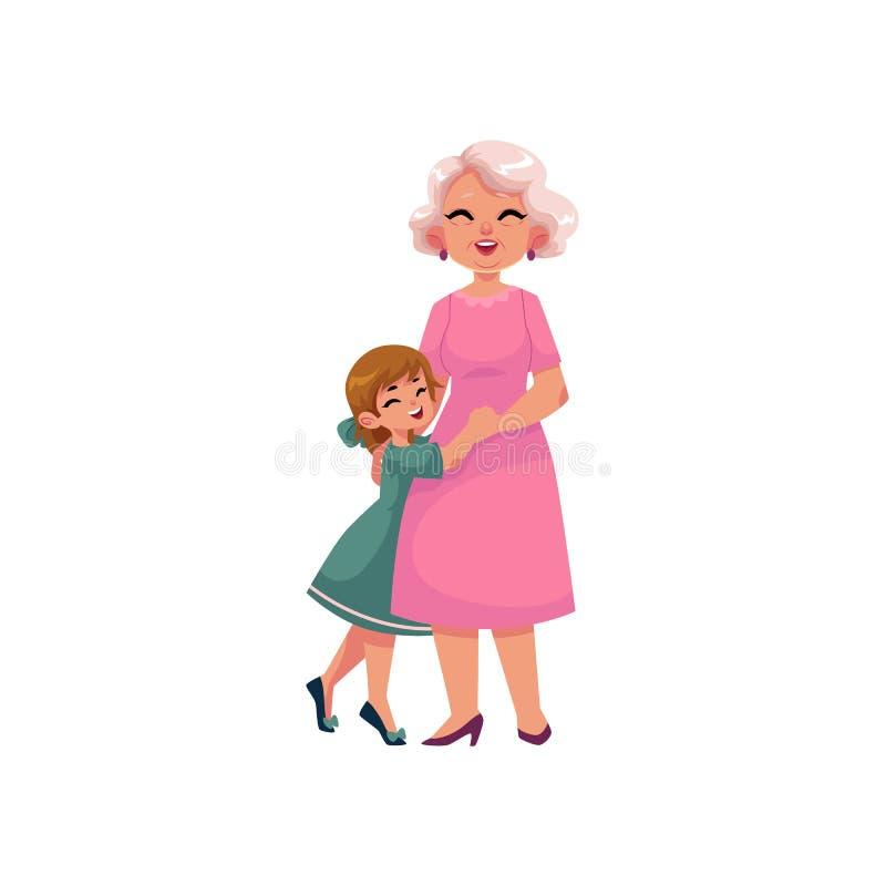 Plan farmor för vektor och litet krama för flicka vektor illustrationer