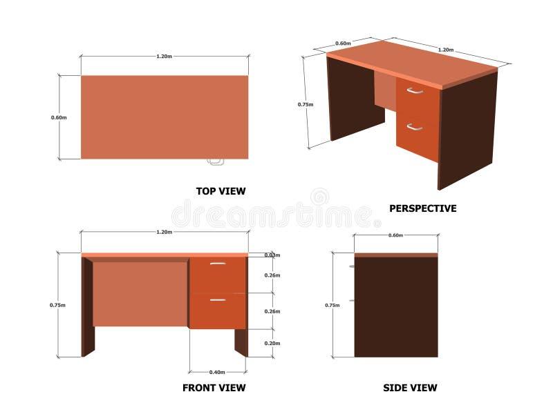 Plan Front Side Perspective View de la tabla de la oficina imagen de archivo