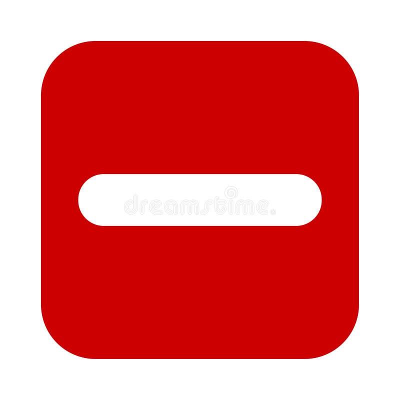 Plan fyrkant negativ den röda symbolen för tecken, knapp Negativt symbol som isoleras på vit bakgrund stock illustrationer