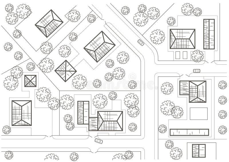 Plan general del bosquejo arquitectónico linear del pueblo stock de ilustración