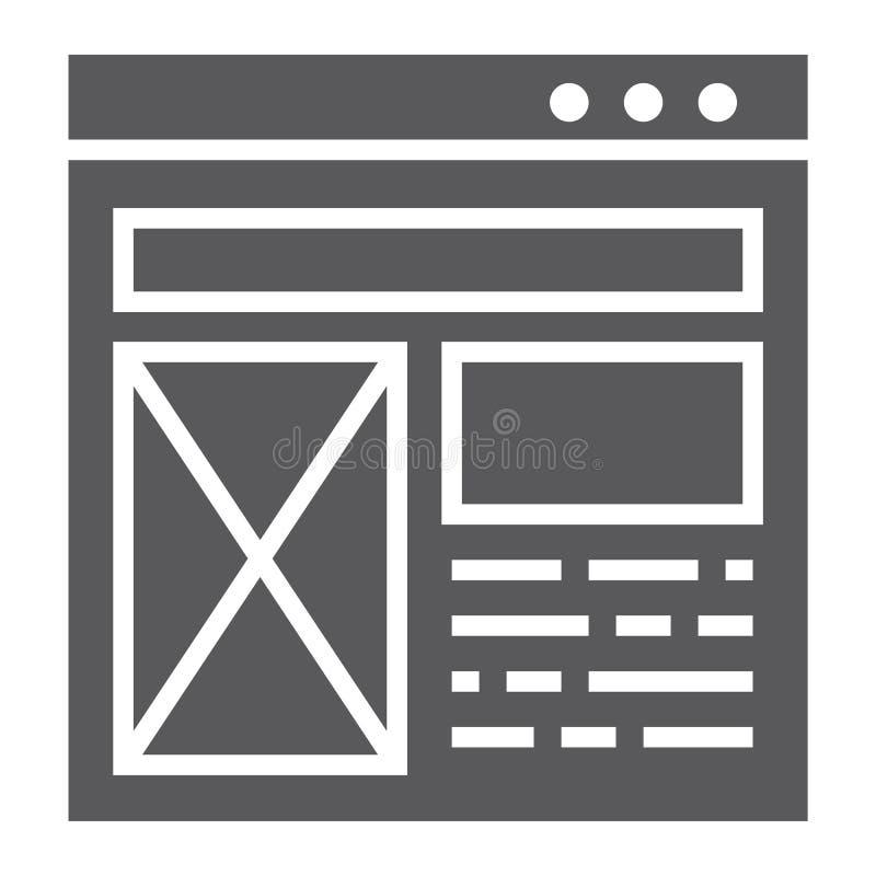 Plan Glyphikone, Website und Entwurf, Schablonenfensterzeichen, Vektorgrafik, ein festes Muster auf einem weißen Hintergrund stock abbildung