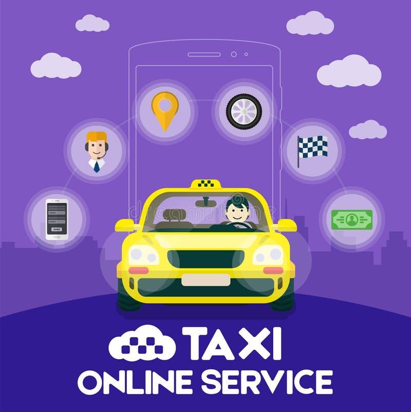 Plan gul taxi med en chaufför vektor illustrationer