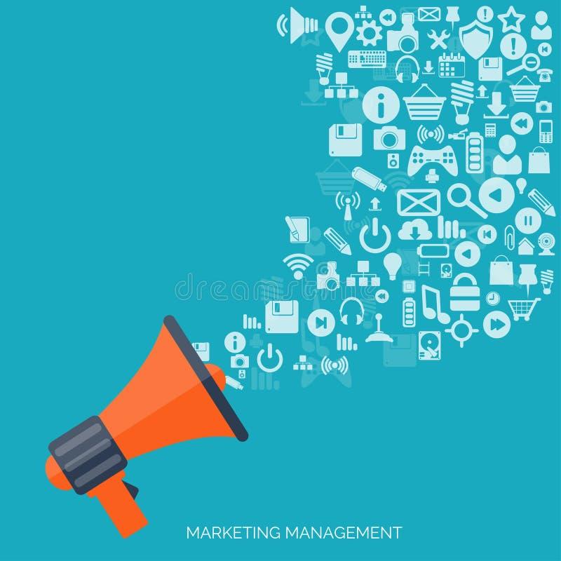 Plan högtalaresymbol Begrepp för administrativ ledning Global kommunikation och socialt massmedia vektor illustrationer