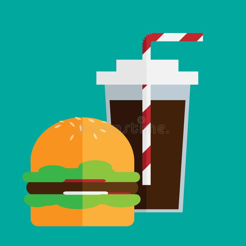 Plan hamburgare och cola royaltyfri illustrationer