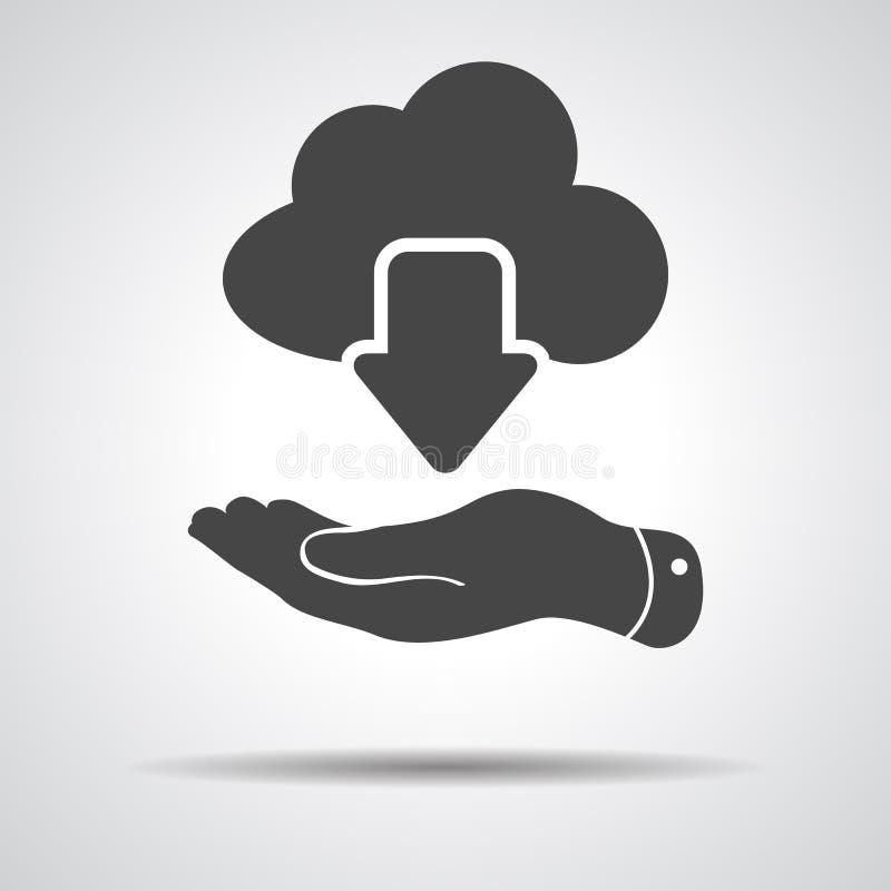 Plan hand som visar den beräknande nedladdningsymbolen för svart moln på en grå färg stock illustrationer