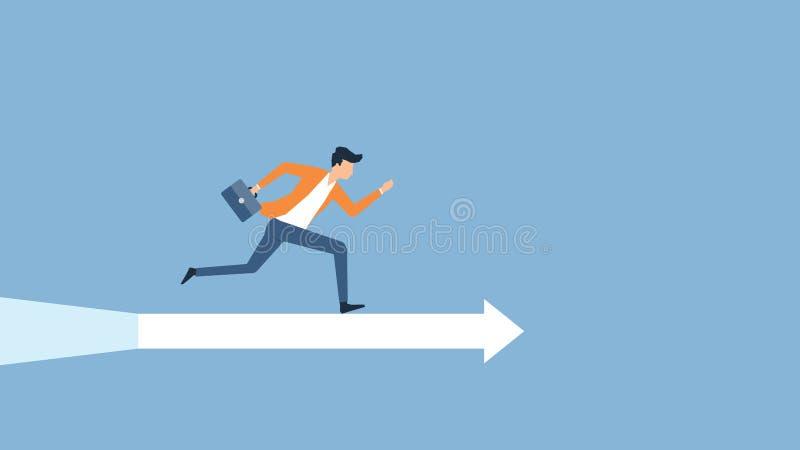 Plan hastighet för vektorillustrationaffärsman som kör för att uppsätta som mål framgång stock illustrationer