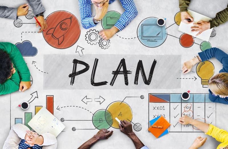 Plan het Concept Gegevensanalyse Plannings van de de Bedrijfs van Sttrategy royalty-vrije stock foto