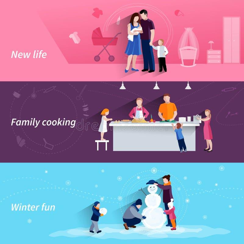 Plan horisontalbaneruppsättning för föräldraskap 3 royaltyfri illustrationer