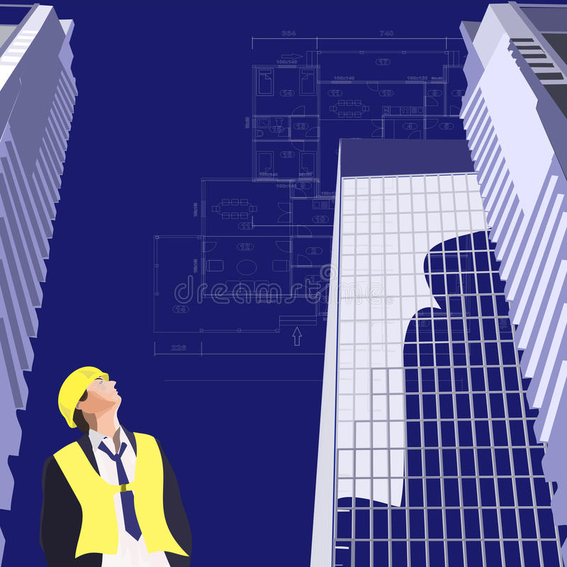 Download Plan house and skyscraper stock vector. Illustration of draftsman - 12212381