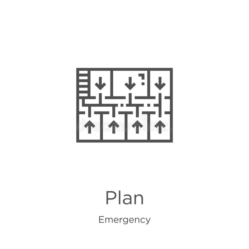 plan icon vector from emergency collection. Thin line plan outline icon vector illustration. Outline, thin line plan icon for stock illustration