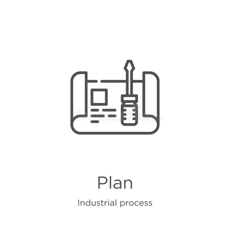 plan icon vector from industrial process collection. Thin line plan outline icon vector illustration. Outline, thin line plan icon vector illustration