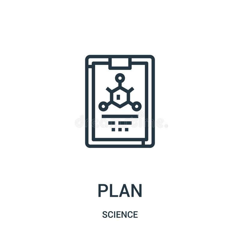 plan icon vector from science collection. Thin line plan outline icon vector illustration. Linear symbol for use on web and mobile royalty free illustration