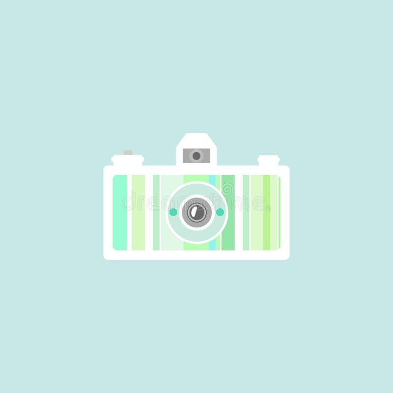 Plan idérik kamera av gräsplan- och gulingfärger Isolerat på blått retro stock illustrationer